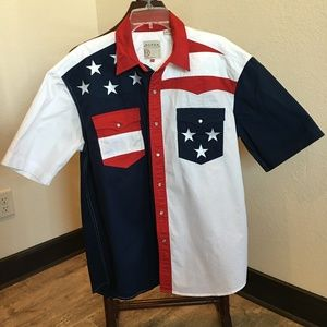 Roper Flag Snap Front Button Down   163